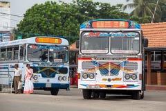 Regular public bus from Hikkaduwa to Galle in Sri Lanka. Stock Photo