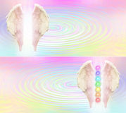 Reiki Angel Wings and Seven Chakras website header Royalty Free Stock Photos