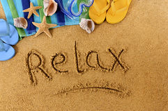 Relax beach writing Stock Images
