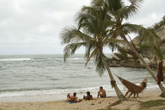 Relaxing at the beach. Hammock Royalty Free Stock Photography