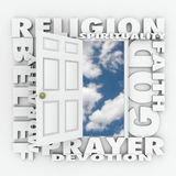Religion Faith Belief Door Opening to Follow God or Spirituality Stock Images