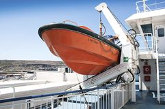 Rescue boat on passenger ferry Royalty Free Stock Image