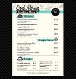 Restaurant Breakfast menu design Template layout Royalty Free Stock Photography