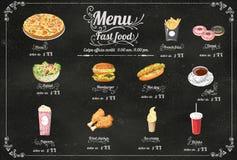 Restaurant Fast Foods menu on chalkboard vector format eps10 Royalty Free Stock Photo