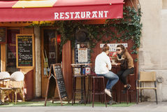Restaurant in Parijs Stock Afbeelding