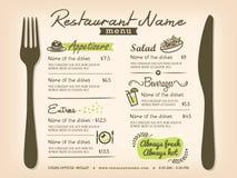 Restaurant Placemat Menu Vector Design Layout Stock Photos