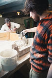 Restorers working with gypsum models Stock Images