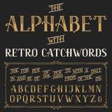 Retro alphabet vector font with catchwords. Royalty Free Stock Photos