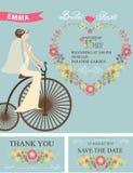 Retro Bridal shower set.Bride,floral decor,bicycle Royalty Free Stock Photos