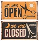 Retro door signs for barber shop Stock Photo