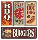 Retro fast food tin signs Royalty Free Stock Image