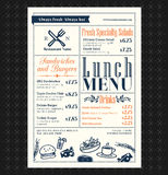 Retro Frame restaurant lunch menu design Stock Photo