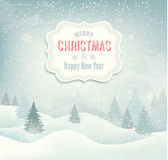 Retro holiday christmas background with winter lan Stock Photo