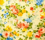 Retro Lace Floral Seamless Pattern On Yellow tone Vintage Style Fabric Background Stock Photos