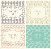 Retro Mono Line Frames with place for Text. Vector Design Template, Labels, Badges on Seamless Geometric Patterns. Stock Photos