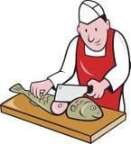Sushi Chef Butcher Fishmonger Cartoon Stock Photography