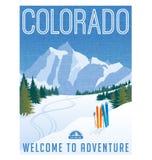 Retro style travel poster or sticker. United States, Colorado Ski mountains Royalty Free Stock Images