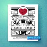 Retro stylish Save The Date wedding template Stock Image
