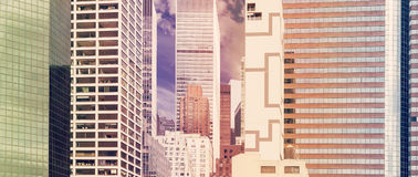 Retro stylized panoramic view of buildings in New York, USA. Royalty Free Stock Images