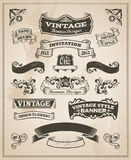Retro vintage banner and ribbon set Stock Images