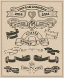 Retro vintage scroll and banner vector set Stock Images
