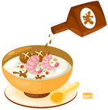 Rice soup with sauce Royalty Free Stock Image