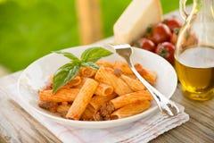 Rigatoni with tomato sauce Stock Photo