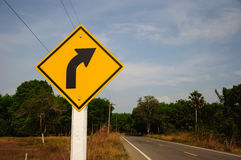 Right turn sign Stock Images