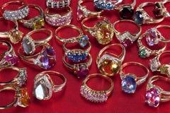 Rings with precious & semi-precious gemstones Stock Photography