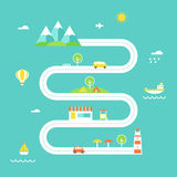 Road Map Illustration. Travel and Recreation Concept. Flat Design Stock Photo