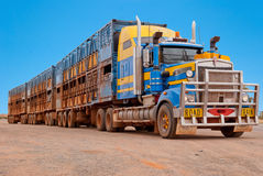 Road train in the Australian outback Royalty Free Stock Photography