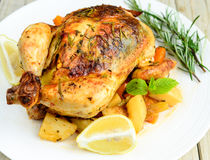 Roasted chicken with dill sweet lime and mint Stock Images