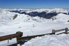 Roche de Mio, Winter landscape in the ski resort of La Plagne, France Stock Images