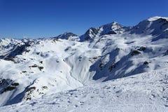 Roche de Mio, Winter landscape in the ski resort of La Plagne, France Royalty Free Stock Images