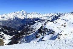 Roche de Mio, Winter landscape in the ski resort of La Plagne, France Royalty Free Stock Photography