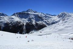 Roche de Mio, Winter landscape in the ski resort of La Plagne, France Stock Photos