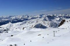 Roche de Mio, Winter landscape in the ski resort of La Plagne, France Royalty Free Stock Image