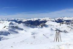Roche de Mio, Winter landscape in the ski resort of La Plagne, France Royalty Free Stock Photos
