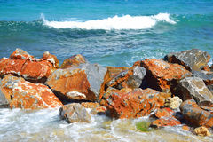 Rocks on the coast of Aegean Sea. Royalty Free Stock Photography