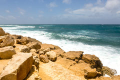 Rocky Rugged Limestone Atlantic Coastline at Half Moon Bay Stock Image