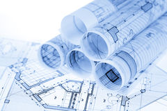 Rolls of architecture blueprints Stock Photos