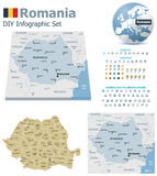 Romania maps with markers Stock Images