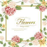 Romantic flowers wedding invitation template design Royalty Free Stock Image