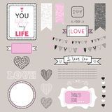 Romantic graphic set, borders, hearts, frames, ribbons, labels Stock Images
