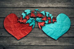 Romantic relationship concept two hearts exchange feelings Royalty Free Stock Images