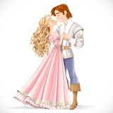 Romantic scene of a fabulous prince and princess kiss Royalty Free Stock Photography