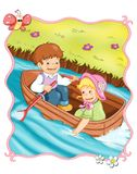 Romantic trip in boat Stock Images