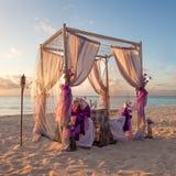 Romantic Wedding Table on Tropical Caribbean Beach Stock Photo