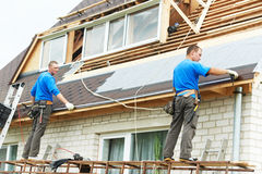 Roofing work with flex roof Royalty Free Stock Images