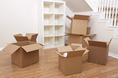 Room Of Cardboard Boxes for Moving House Royalty Free Stock Photo